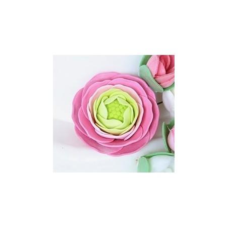 2 Renoncules en Pastillage Rose  (83)